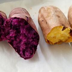 オーブン料理/グリルで作る/鳴門金時/紫芋/焼き芋/サツマイモ/... 焼き芋🍠作ってみました🎵  トースターや…(1枚目)