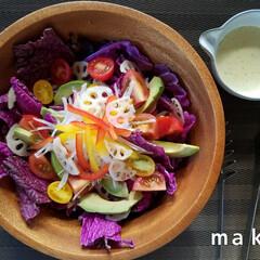紫白菜/サラダ/旬の野菜/秋/グルメ/フード/... 旬野菜の紫白菜のサラダ🍴 紫の白菜を初め…