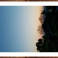 夕焼け/夕陽/月/おでかけ  今日の夕焼け  🌛が出ていましたよぉ🎵