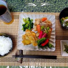 万願寺とうがらし/家庭菜園/おうちごはん/たくさんのお野菜 今日の晩御飯🍴  筑前煮(椎茸なし)・小…