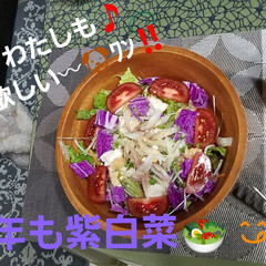 リミアな暮らし/冬野菜でサラダを作りました/サラダ/紫白菜 少し、ご無沙汰しておりました(*`・ω-…