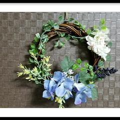紫陽花/リース/花/母の日/グリーン/DIY/... 『初めてのリース』手作りの贈り物  母は…