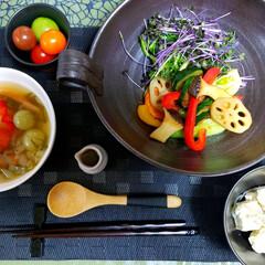 カラフルメニュー/diet食/トマトのスープ/colorful野菜/ヘルシー食/フォロー大歓迎/... 🌃🍴今日の晩ごはん ヘルシーdiet食 …