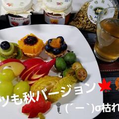 フルーツいっぱい/盛り付け/ジャム/果物/飾り切り/フルーツの盛り合わせ/... ベリーコテージ☝kazuちゃんに注文しち…