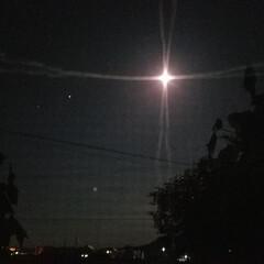 星/月/十六夜/月夜/夜空 お月さんとお星様が、とっても綺麗でした:…