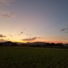 夕焼け/夕日/光線/おでかけ 光の線  フォトでは分かりにくいですが、…