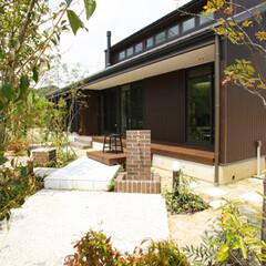 エクステリア/平屋のような家/無垢の家/広いリビング/おしゃれな家/子育てに適した家 豊かな自然環境に合わせて、山間に佇む別荘…