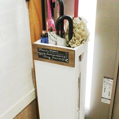 スノコ/傘立て/簡単DIY/玄関 収納力があってコンパクトな傘立てが欲しく…