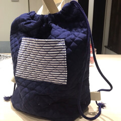 お着替え袋/新生活/ハンドメイド/暮らし 保育園のお着替え袋作りました。 持ち手付…(2枚目)
