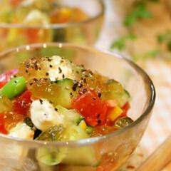 マイレシピ/料理 クリームチーズと季節野菜のコンソメジュレ…