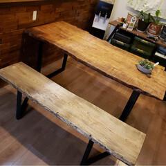 ダイニングベンチ/ダイニングテーブル/わたしの手作り ダイニングテーブルとベンチ完成です❤️ (1枚目)