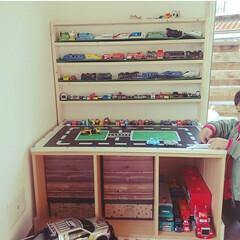 カラボリメイク/プレイテーブル/わたしの手作り 末っ子専用プレイテーブル収納❤️
