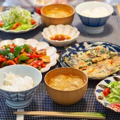 カネコ小兵製陶所 リンカ 24cmプレート(皿)を使ったクチコミ「ある日の晩ごはん ・海鮮チヂミ ・鶏胸肉…」