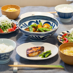 おうちごはん部/料理/献立/夕食 ある日の晩ごはん ・新じゃがとひき肉の煮…