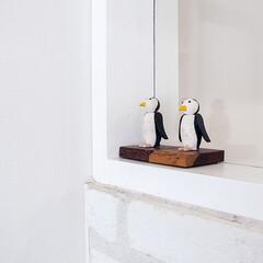 雑貨/置物/動物/インテリア 木でできたペンギンの置物。 木工業を営ん…