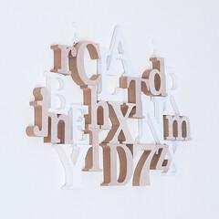 わたしの手作り/DIY/100均/100均アルファベットオブジェ/アルファベットオブジェ/壁飾り/... 100均のアルファベットオブジェをボンド…