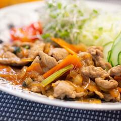 おうちごはん部/料理/献立/夕食 豚肉と玉ねぎと人参と小松菜入りのスタミナ…