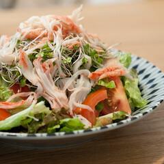 サラダ/おうちごはん/カニカマ/手作りごはん/ごはん おうちごはんは高確率でサラダを作ります。…