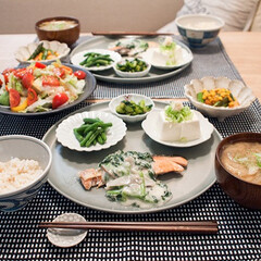 おうちごはん/食器/和食器/テーブルコーデ/器 ある日の晩ごはん。 KIHARAのENプ…