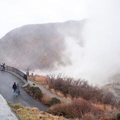 おでかけワンショット/箱根/大涌谷/箱根観光/観光地 年末に出かけた箱根旅行。 登山電車とケー…