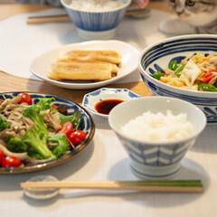 おうちごはん部/料理/献立/夕食/家庭料理 ある日の晩ごはん 野菜炒め きのこのガー…