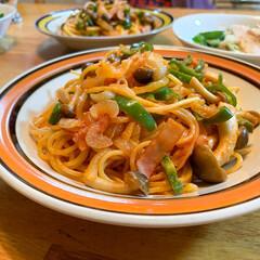 おうちごはん部/料理/献立/パスタ/ナポリタン 久しぶりに実家へ。夕食を作るよ〜って言っ…