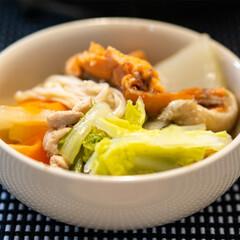 おうちごはん部/鍋/料理/献立/夕食 塩ちゃんこ鍋をお皿に取り分けたところ。白…