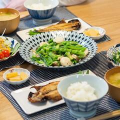 おうちごはん部/料理/献立/夕食 ある日の晩ごはん ・鯵の干物 ・ホタテ、…