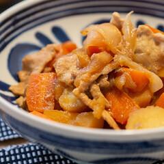 皿 ボウル 北欧 贈り物 波佐見焼 磁器 日本製 モダンブルー ボウル 73511(皿)を使ったクチコミ「ある日の晩ごはんのメインは肉じゃが。 わ…」