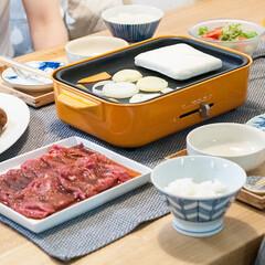 おうちごはん部/料理/献立/焼肉/BRUNO/ホットプレート ある日の晩ごはんは焼肉♪ 材料切るだけで…