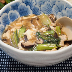 わたしのごはん/料理/おうちごはん/餡かけ 中華風の味付けであんかけ。 海老、小松菜…