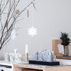 インテリア/冬/ペーパー加湿器/ディスプレイ/枝物 今年は結局、クリスマスっぽい雰囲気のまま…