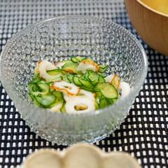 イッタラ カステヘルミ ボウル 230ml クリア | イッタラ(バット)を使ったクチコミ「ある日の副菜にきゅうりとちくわの酢の物。…」