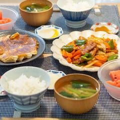 光陽陶器 大皿 24.5cm リンカ 24プレート 白練 40801(皿)を使ったクチコミ「ある日の晩ごはん ・酢豚 ・餃子 ・小松…」