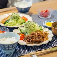 おうちごはん部/料理/献立/家庭料理 ある日の晩ごはん。 ・生姜焼きとキャベツ…