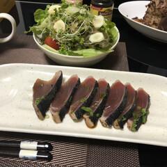 カツオのタタキ/カツオ/フォロー大歓迎/おうちごはん/グルメ/フード/... ある日の晩御飯! カツオのたたきです! …