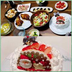 手料理/クリスマスケーキ/クリスマスパーティー/クリスマス2019 我が家はイヴにクリスマスをしました⭐️ …(1枚目)