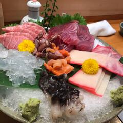 刺身/寿司/魚/酒 夕食人酒とても綺麗なお店✨ マグロが肉に…