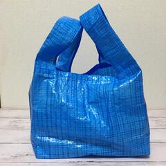 お弁当レジ袋/レジ袋/ブルーシート/ダイソー/100均/お弁当/... レジ袋削減!お弁当袋。お弁当の傾き防止の…