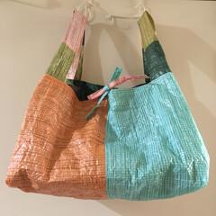 大容量/買い物バッグ/マイバッグ/エコバッグ/暮らしni手芸/古古手芸/... 大型買い物バッグ!レジ袋有料化に伴いマイ…
