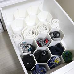 ハニカム パーティション8P | タイガークラウン(収納ケース)を使ったクチコミ「子供の靴下の収納に便利なこれ! ハニカム…」