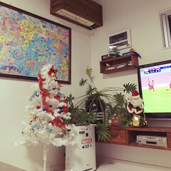 TVボード/エアコンカバー/ポスターフレーム/クリスマス/ステンシル/DIY/... クリスマスツリー設置🎅🌲