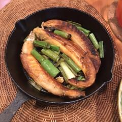 フライパン料理/鉄製フライパン/ニトスキ/スキレット/おうちごはん/ニトリ/... スキレットマジックで、ただ焼いたハラスも…