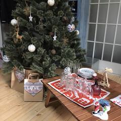 クリスマスパーティー/テーブルコーディネイト/クリスマス/クリスマスツリー 今日は実家の家族とクリスマスパーティーで…