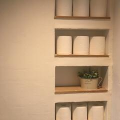 ニッチDIY/トイレDIY/トイレットペーパー収納/ニッチ収納/DIY わが家のトイレットペーパー収納 自分で壁…