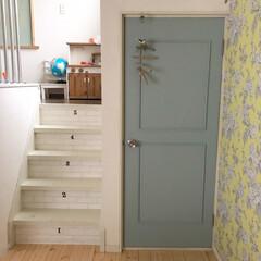 セルフリフォーム/建具/DIY/ハンドメイド リビングの1角のドアです ツルツルの合板…