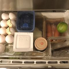 冷蔵庫整理/冷蔵庫収納/キッチン収納/収納/暮らし/食事情 野菜室の上の浅いトレーを 今まであんまり…