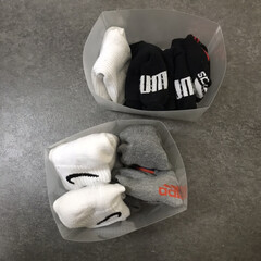 Kspowwin バスマット 足ふきマット 速乾 吸水 抗菌 ふわふわ 丸洗い 浴室 キッチン マット )(バスマット)を使ったクチコミ「わが家の靴下収納-子どもver 子どもた…」(2枚目)