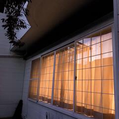 冬の夜/格子窓/住まい 夕方帰ってきたときに 外からおうちの窓を…