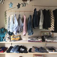 オープン収納/クローゼット収納/クローゼット/DIY/収納/ファッション 子ども部屋(4歳)のクローゼット 簡単D…